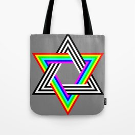 Six Stripe Hexagram Black White and Rainbow Tote Bag