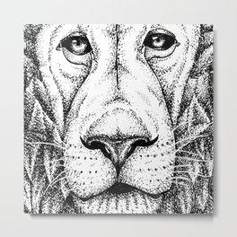 Lion Dots Metal Print