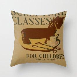 Vintage poster - Sculpture Classes for Children Throw Pillow