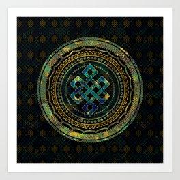 Marble and Abalone Endless Knot  in Mandala Decorative Shape Art Print