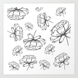Hand Drawn Peonies Art Print