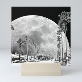 California Dream // Fantasy Moon Beach Sidewalk Black and White Palm Tree Silhouette Collage Artwork Mini Art Print