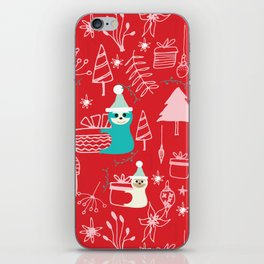 Santa Claus Cute Sloth Christmas pattern Red #christmas iPhone Skin