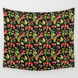 Rose hips on black background Wall Tapestry