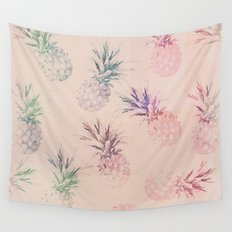 Soft Pastel Pineapple Pattern Wall Tapestry