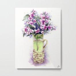 Pink jasmine bouquet in a flower vase Metal Print