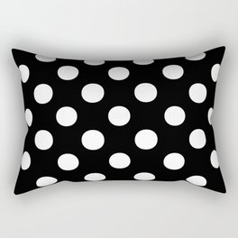 Polka Dots (White/Black) Rectangular Pillow