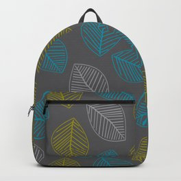 Mid Century Modern Falling Leaves Turquoise Chartreuse Gray Backpack