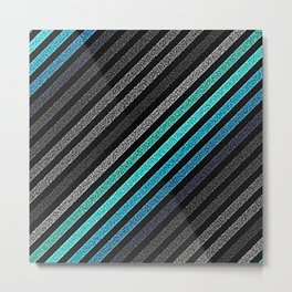 stripeS : Slate Gray Teal Blue Pixels Metal Print