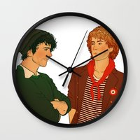 grantaire Wall Clocks featuring E & R by rdjpwns