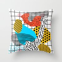 coachella Throw Pillows featuring Wig Out - memphis style shapes retro pop art pattern dots stripes squiggles 1980's 80s 80 1980 retro by Wacka