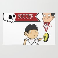 soccer Area & Throw Rugs featuring Soccer Skull by flydesign