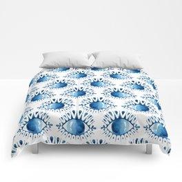Evil Eye // Blue Watercolor Comforters