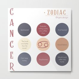Cancer Zodiac Sign Personality Metal Print