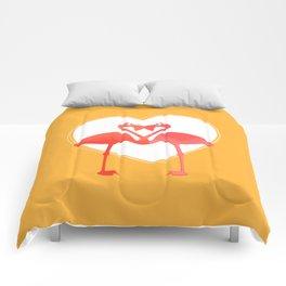 lovebirds - flamingos in love Comforters