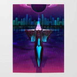 Neon Flight on Titan Poster