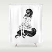 catwoman Shower Curtains featuring catwoman by vasodelirium