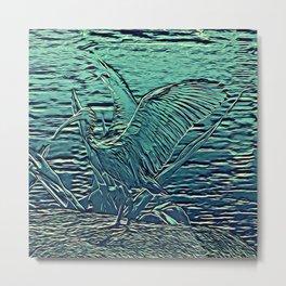 Japanese Bird Engraving Metal Print