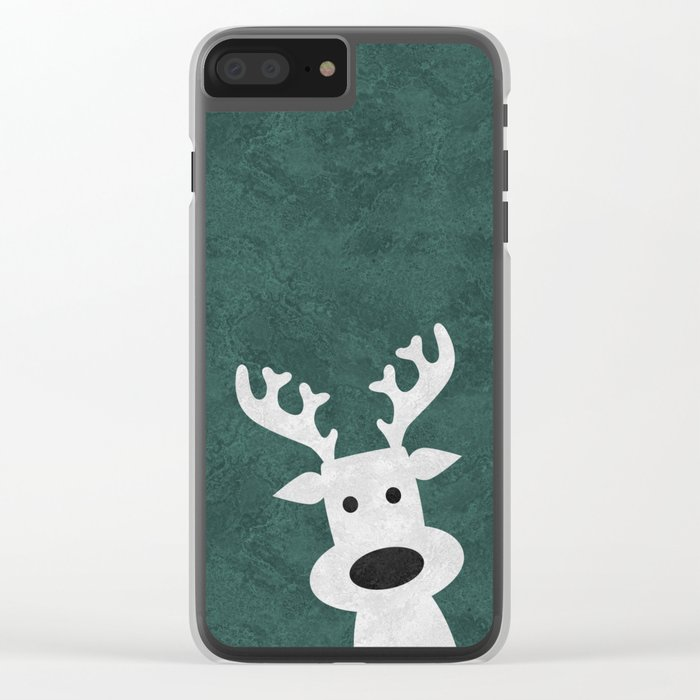 Christmas reindeer marble Clear iPhone Case