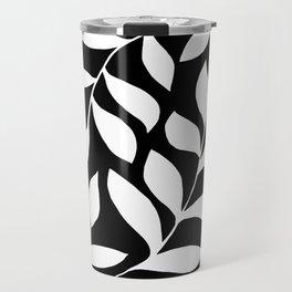 WHITE AND BLACK LEAVES DESIGN PATTERN Travel Mug