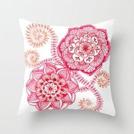 Pink Floral Doodle Throw Pillow