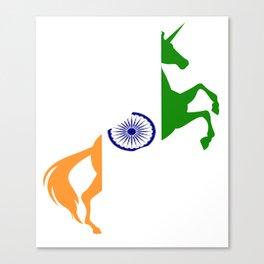 Unicorn India Flag  Magical Unicorn Indian Canvas Print