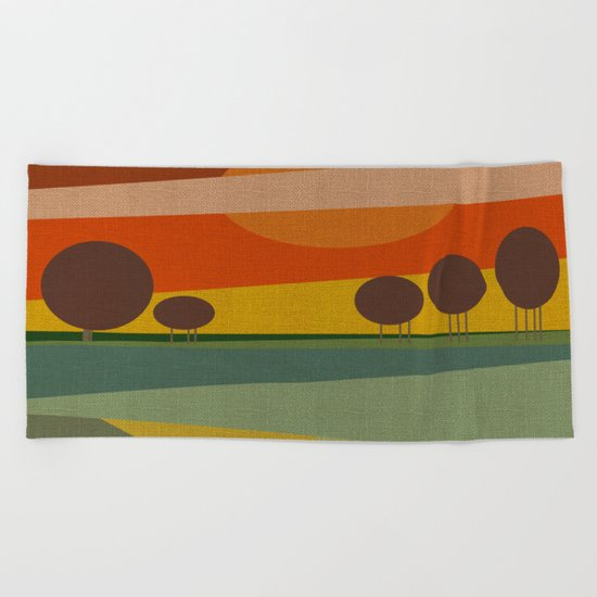 ABSTRACT SUNSET Beach Towel