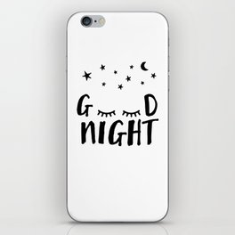 Good Night - Closed Eyes, Moon and Stars quote iPhone Skin