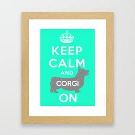 keep calm and corgi on Framed Art Print