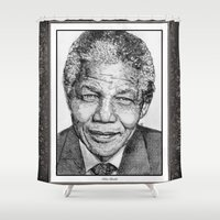 mandela Shower Curtains featuring Nelson Mandela by JMcCombie