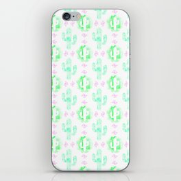 Green and pink watercolor cactus iPhone Skin