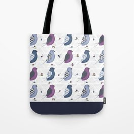 Blue birds with wild flowers Tote Bag