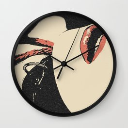 Pain, pleasure and desire, bdsm, bondage, red lips, collared and tied girl Wall Clock