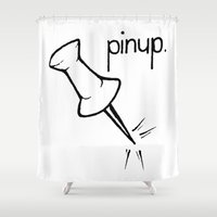 pinup Shower Curtains featuring Pinup. by Ebenezer Hedgehog
