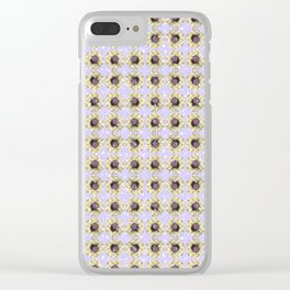 Mustard Yellow Daisy Floral Flowers Illustration on Lavender Bokeh Clear iPhone Case