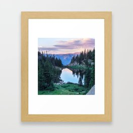 Hikers Bliss Perfect Scenic Nature View \ Mountain Lake Sunset Beautiful Backpacking Landscape Photo Framed Art Print