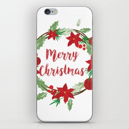 Lovely Merry Christmas Wreath iPhone Skin