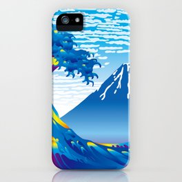 Hokusai Great Wave & Mt. Fuji under the Clear Sky iPhone Case