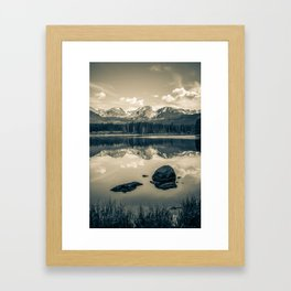 Sepia Rocky Mountain Morning Reflections - Estes Park Colorado Framed Art Print