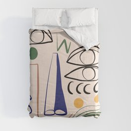 Abstract line art faces Comforters