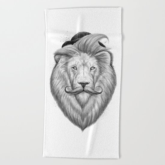 bearded lion Beach Towel