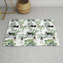 cats in the interior pattern Rug