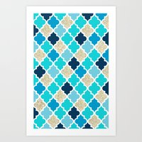 morrocan Art Prints featuring Morrocan Tile Blue with Gold Glitter by Shelby McCann