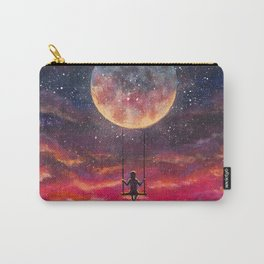 Girl riding on big moon planet fantasy art. Carry-All Pouch