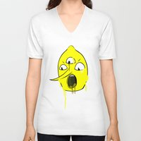 lemongrab V-neck T-shirts featuring TEENS ON ACID x LEMONGRAB by Teens On Acid