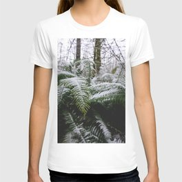 Fern Forest Winter Pacific Northwest Snow III - Nature Photography T-shirt