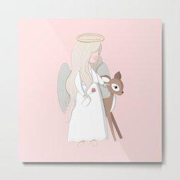 Angel and Deer Metal Print