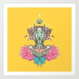 Sacred Lotus Blossom Monster Girl Art Print