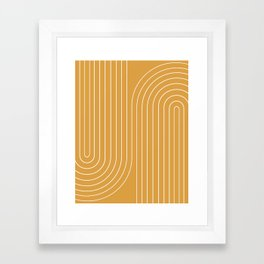 Minimal Line Curvature - Golden Yellow Framed Art Print