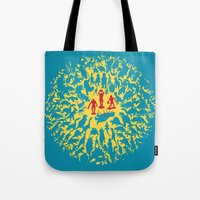 marx Tote Bags featuring Hunted! by Ivan Guerrero
